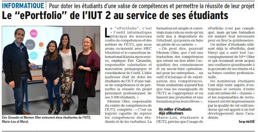 Article du Dauphiné Libéré Isère sur le ePortfolio IUT2 au service de ses étudiants