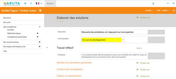 REFLEXEPRO GEM ePortfolio France capture écran compétences